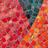 Mosaik rot orange schwarz