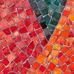Mosaik rot orange schwarz