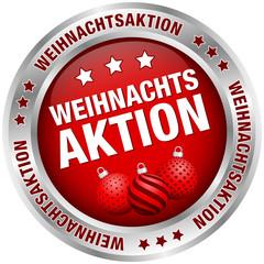 """Button """"Weihnachtsaktion"""" Kugeln rot/silber"""