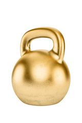 Golden kettlebell isolated on white background
