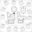 Coloring birthday party with fox and bunny balloons and gifts.