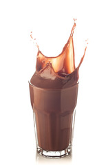 splash of chocolate in a glass