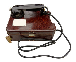 Old military field telephone. Clipping path included.