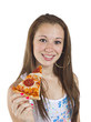 portrait of smiling teenage girl holding a slice of pizza