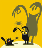 Cute monster, spider and squirrel