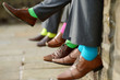 Obrazy na płótnie, fototapety, zdjęcia, fotoobrazy drukowane : Colorful socks of groomsmen
