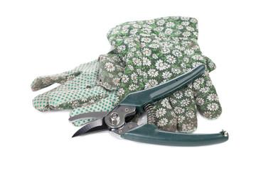 gardening gloves and pruner