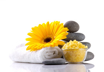 spa accessories and flower