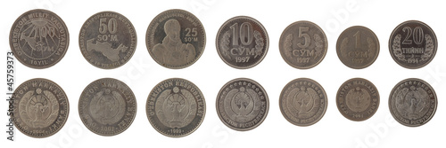 Uzbekistani Coins Isolated on White