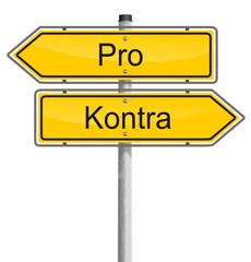 Schilder Richtung pro und kontra
