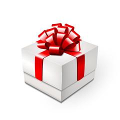 Geschenkbox mit roter Ziehschleife