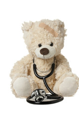 cute teddy bear with a bandage and stethoscope