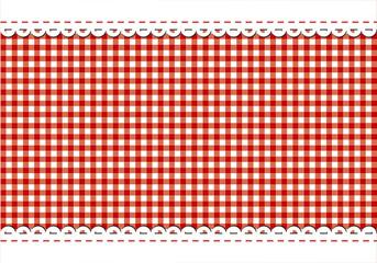 Rote karierte Tischdecke mit Spitze