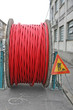 traffic signal work in progress with a large red coil cord red f