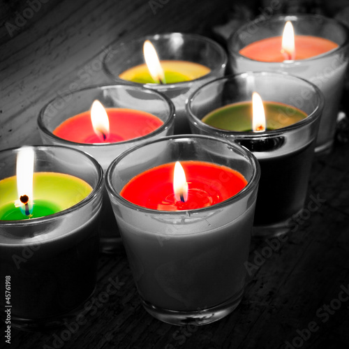 candles b/w & colors