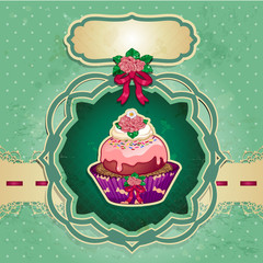 Dessert rose green background