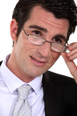 Closeup of a businessman wearing glasses