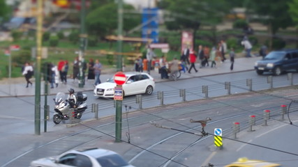 Traffic on the Istanbul street with tilt&shift look