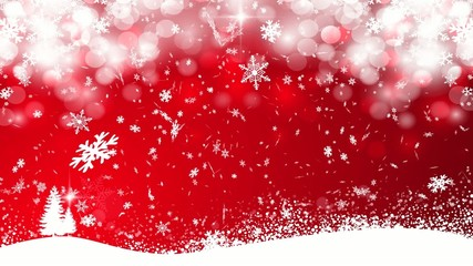 Red Christmas snowing background - snowflakes