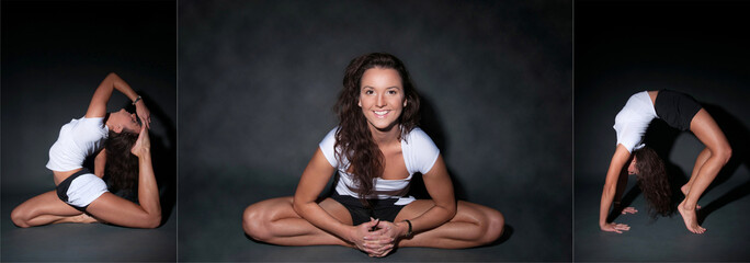 Attractive brunette woman in yoga pose