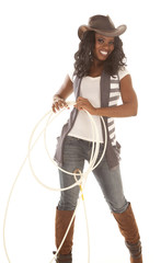 cowgirl smile holding rope