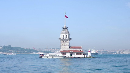 View to the Maiden Tower from from Salacak coast, Istanbul, Turk
