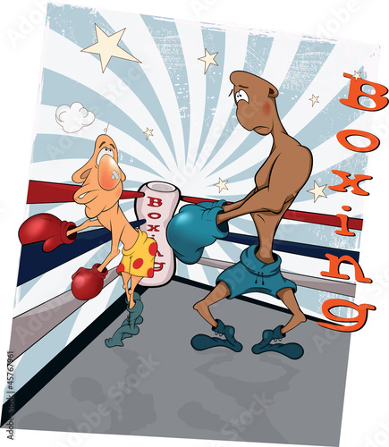 Boxers on a ring. Caricature