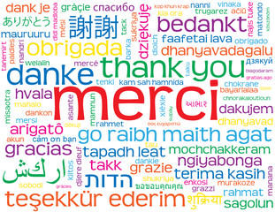 "Carte ""MERCI"" (message remerciements thank you danke gracias)"