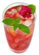 fruit cocktail decorated with flower violet