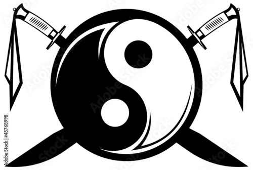 yin and yang symbol with the crossed Chinese swords