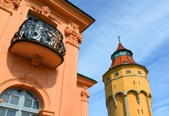 Pagodenburg (1722) und Wasserturm  (1901) , Rastatt, Deutschland