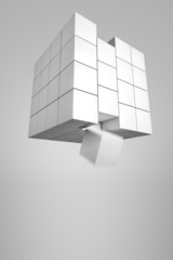 Würfelblock verliert ein Teil