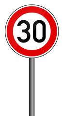 Verkehrsschild Geschwindigkeitsbegrenzung 30km/h