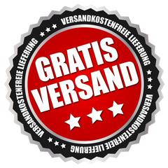 """Button """"Gratis Versand"""" Rot/Schwarz/Silber"""