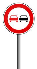Verbotsschild RAL 3001 signalrot freigestellt - Überholverbot