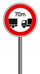 Verbotsschild RAL 3001 signalrot - LKW Abstand 70m