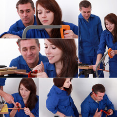 Montage of young female carpenter