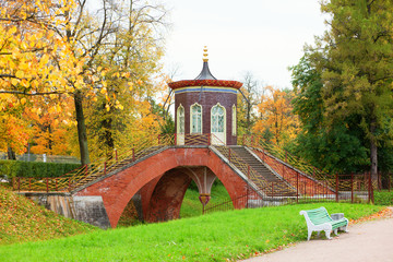Chinese bridge in Pushkin, Saint-Petersburg