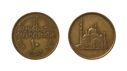Ten Egyptian qirsh or piastres isolated on white.