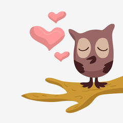 Cute owl in love