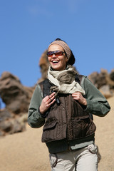 Smiling woman hiker