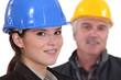 Female architect with senior builder