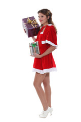 Saucy Miss Santa with gifts