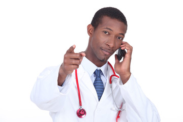 Doctor pointing