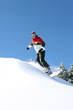 Snowboarder alone on mountain