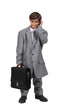 Little boy dressed as businessman
