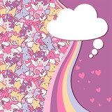 Background with doodle. Vector cute kawaii illustration. poster