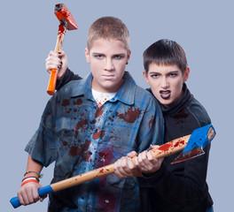 Halloween teenage killers isolated on gray