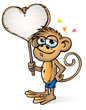 Monkey cartoon whit background in LOVE