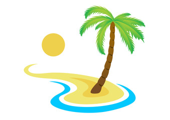 Tropical palm on island with sea. Vector logo.